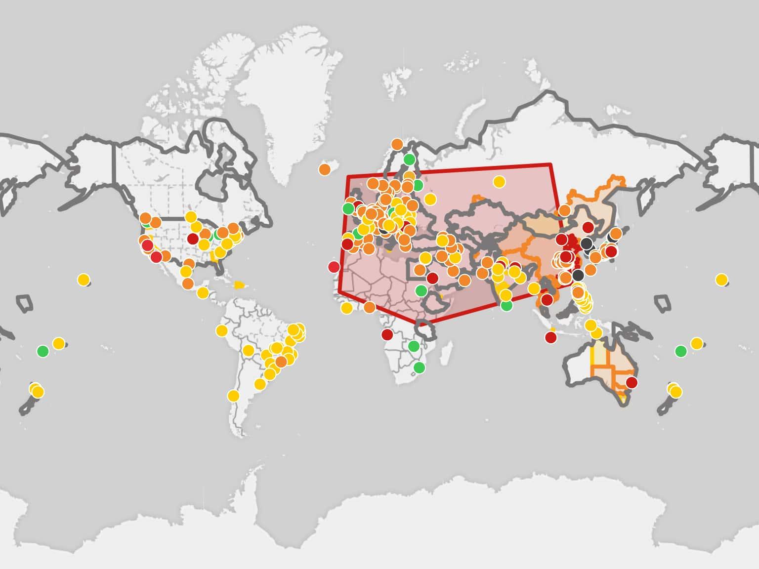 Image result for world map of coronavirus